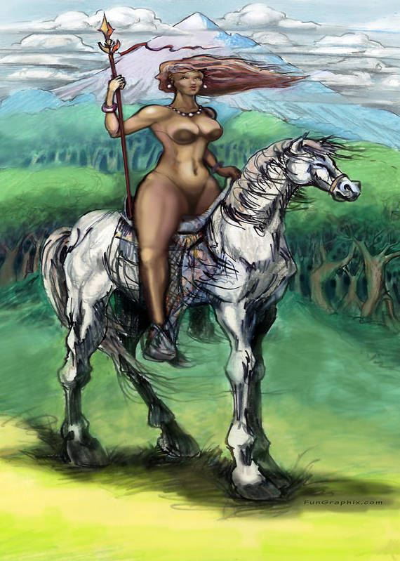 Warrior Poster featuring the painting Warrior Maiden by Kevin Middleton