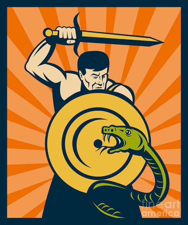 Warrior Poster featuring the digital art Warrior With Sword Serpent by Aloysius Patrimonio