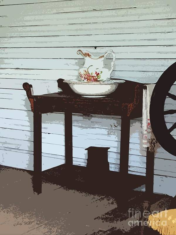 Old Poster featuring the photograph Wash Stand by Judy Waller