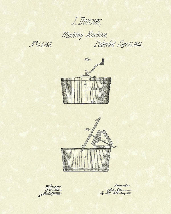 Danner Poster featuring the drawing Washing Machine 1861 Patent Art by Prior Art Design