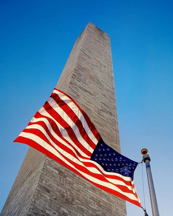 American Flag Poster featuring the photograph Washington Monument by Ilker Goksen