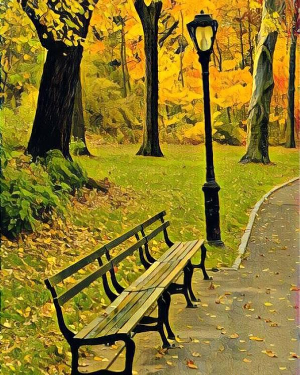 Washington Square Park Poster featuring the photograph Washington Square Bench by Cherylene Henderson