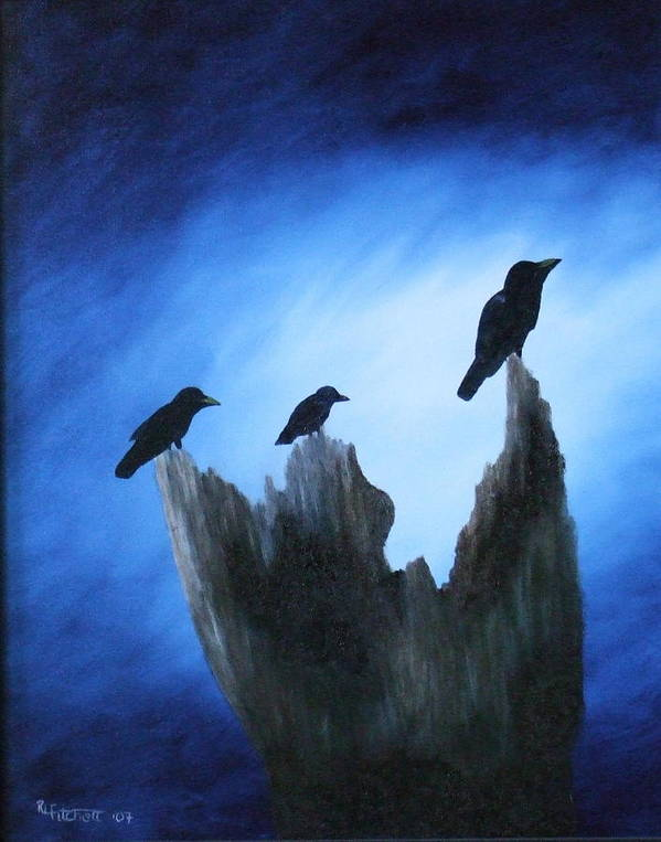 Birds Poster featuring the painting Watching For Company by Rebecca Fitchett