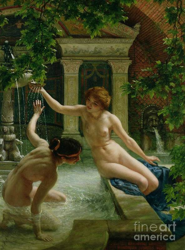 Nude Poster featuring the painting Water Babies by Sir Edward John Poynter