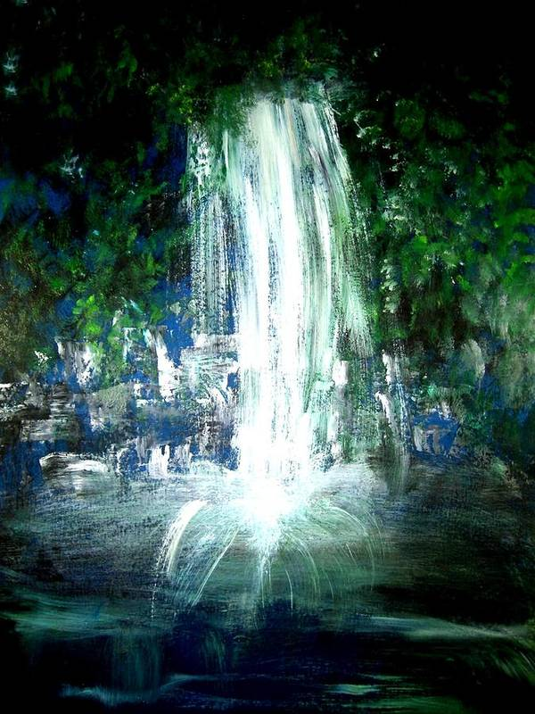 Waterfall Poster featuring the painting Water Falling by Michela Akers