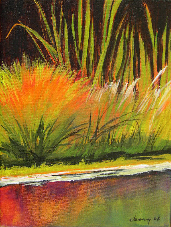 Landscape Poster featuring the painting Water Garden Landscape 5 by Melody Cleary