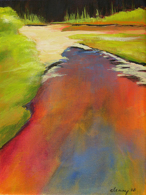 Landscape Poster featuring the painting Water Garden Landscape 7 by Melody Cleary