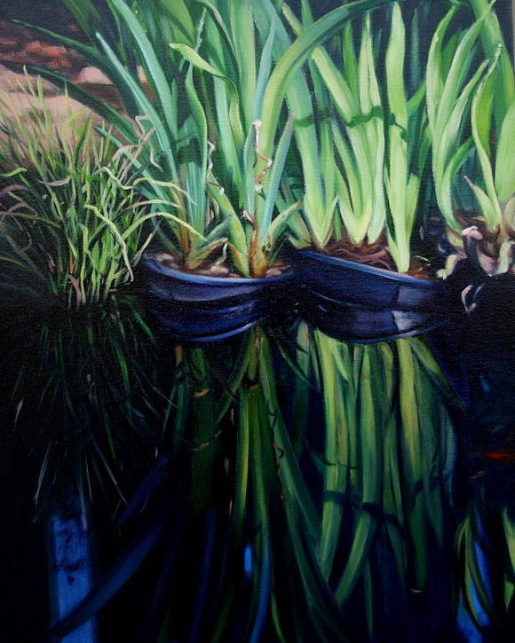 Landscape Poster featuring the painting Water Garden Serie-H by Patricia Reed