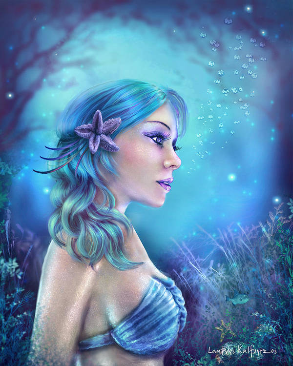 Water Goddess Poster featuring the painting Water Goddess by Lampros Kalfuntzos