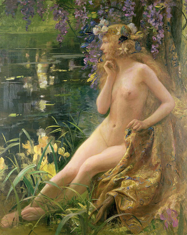 Water Nymph (oil On Canvas) By Gaston Bussiere (1862-1929) Poster featuring the painting Water Nymph by Gaston Bussiere