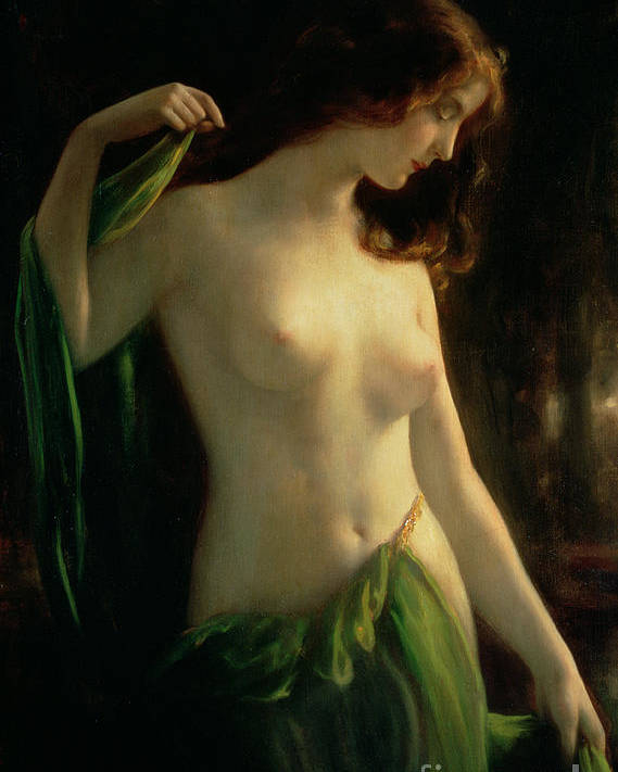 Water Nymph Poster featuring the painting Water Nymph by Otto Theodor Gustav Lingner