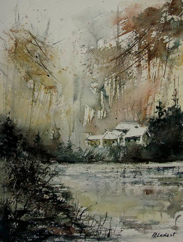 Landscape Poster featuring the painting Watercolor 070608 by Pol Ledent