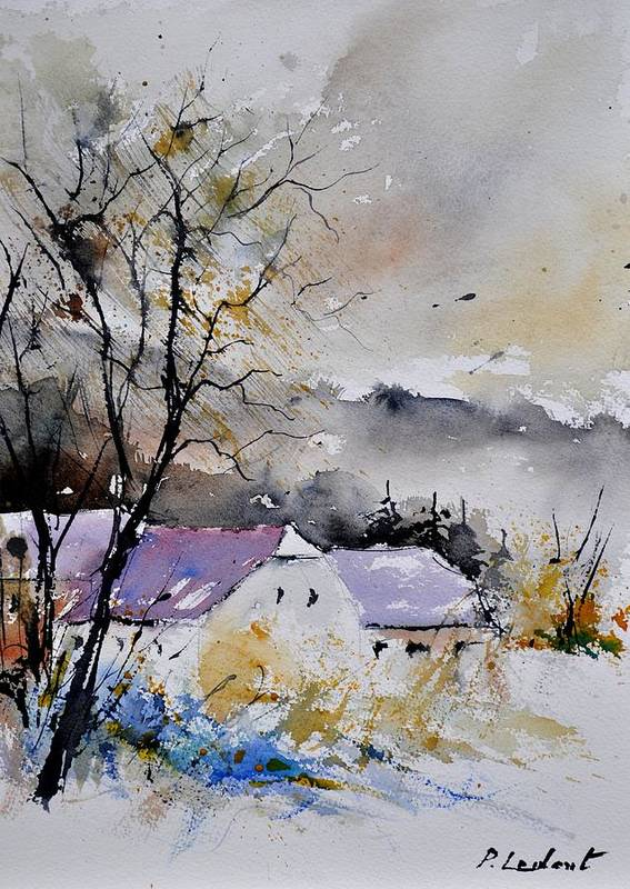 Landscape Poster featuring the painting Watercolor 112012 by Pol Ledent