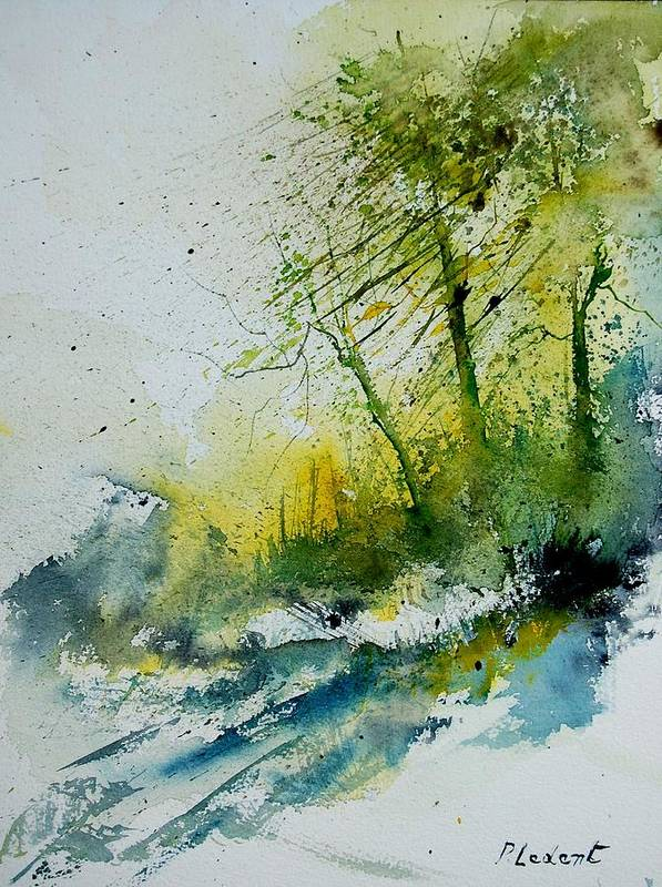 River Poster featuring the painting Watercolor 181207 by Pol Ledent
