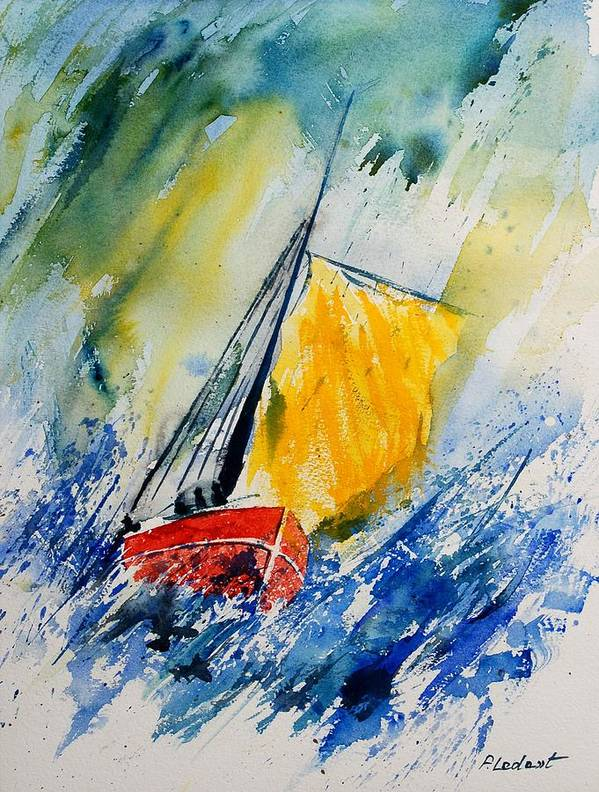 Sea Waves Ocean Boat Sailing Poster featuring the painting Watercolor 280308 by Pol Ledent