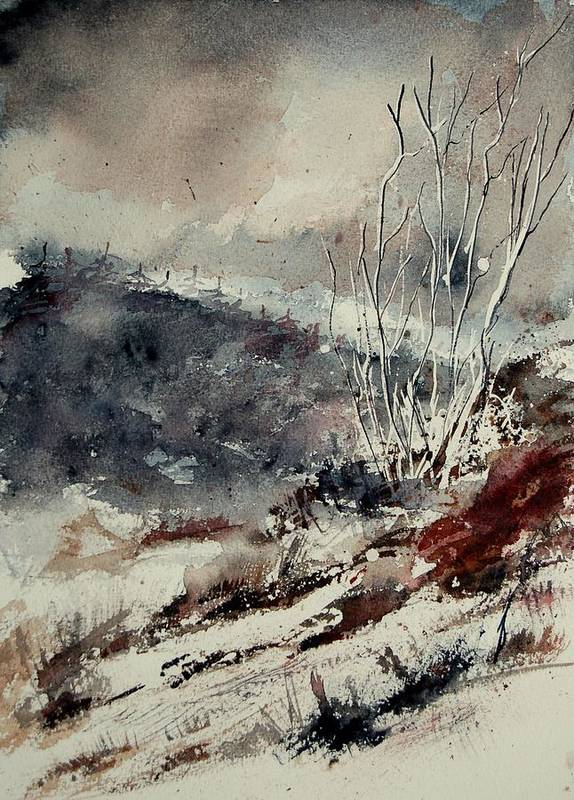 Snow Poster featuring the print Watercolor 446 by Pol Ledent