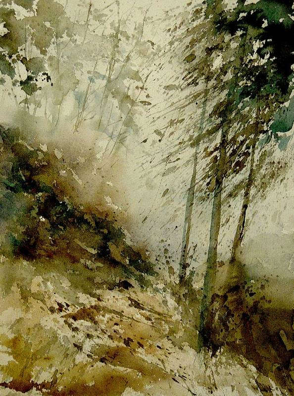 Landscape Poster featuring the painting Watercolor Misty Atmosphere by Pol Ledent
