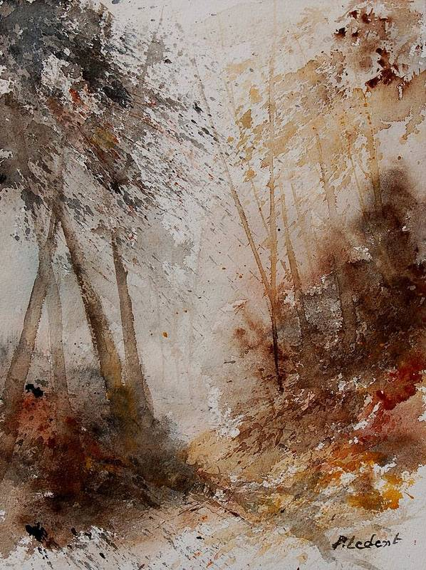 Landscape Poster featuring the painting Watercolor Misty Path by Pol Ledent