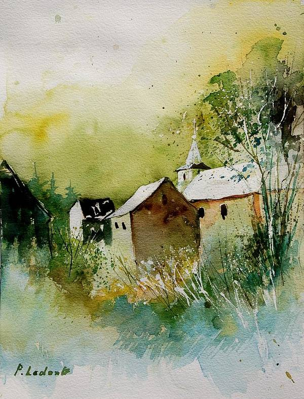 Landscape Poster featuring the painting Watercolor Sosoye by Pol Ledent