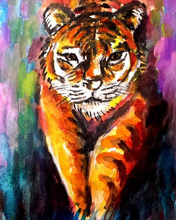 Tiger Poster featuring the painting Watercolor Tiger by Hae Kim