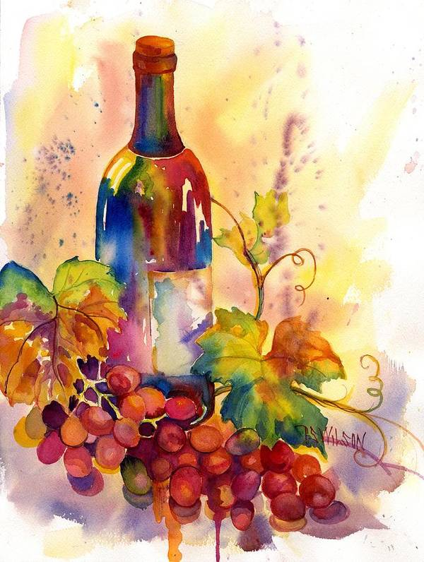 Wine Poster featuring the painting Watercolor Wine by Peggy Wilson