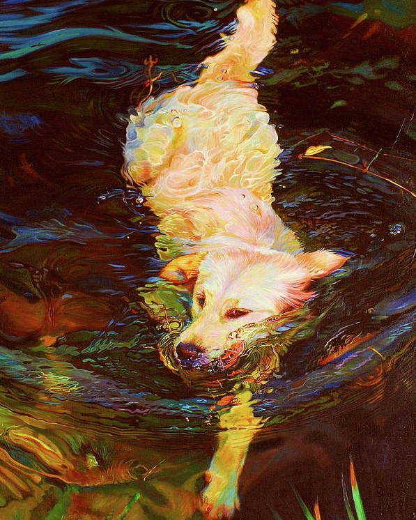 Dogs Poster featuring the painting Waterdance by Kelly McNeil