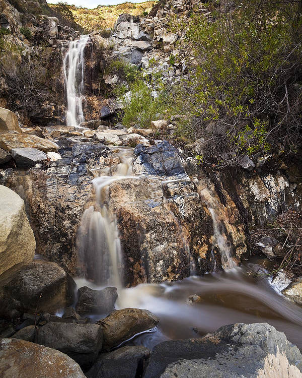 California Poster featuring the photograph Waterfall At La Jolla Canyon by Greg Clure