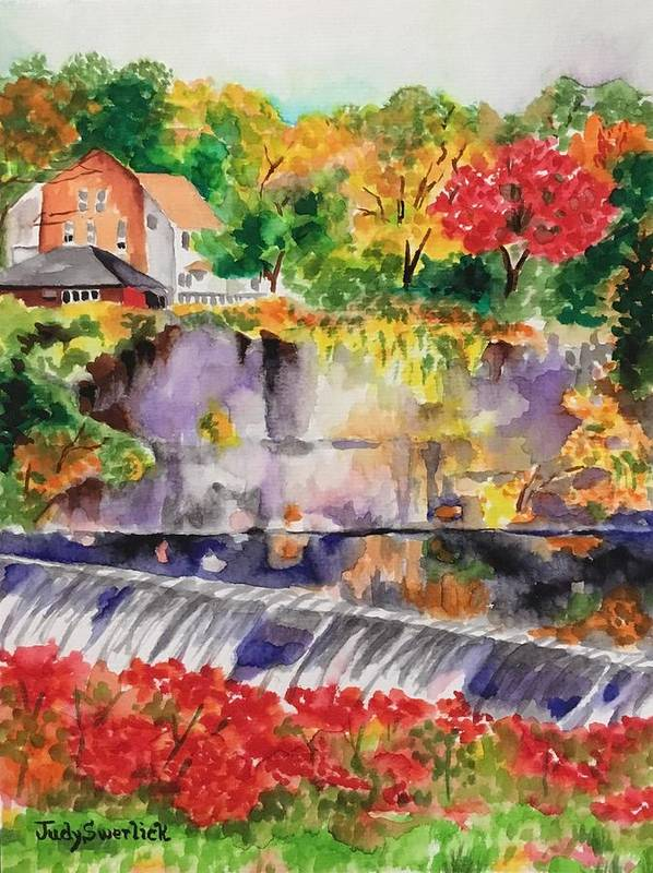 Vibrant Colors. Waterfall Poster featuring the painting Waterfall at the Old Saugerties Mill by Judy Swerlick