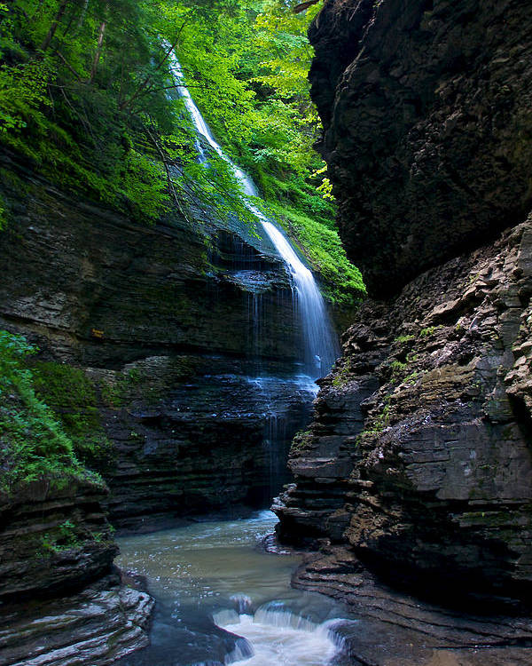 Trail Poster featuring the photograph Waterfall In The Gorge by Mike Horvath