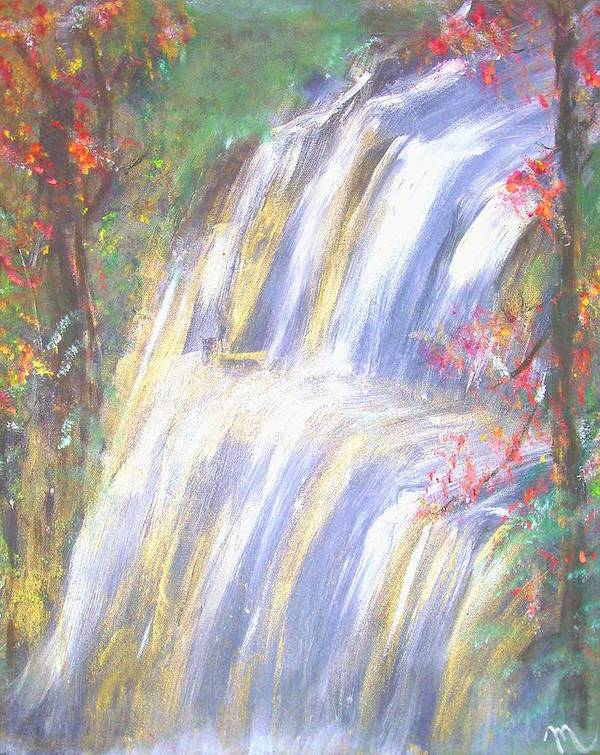 Landscape Poster featuring the painting Waterfall Of El Dorado by Michela Akers