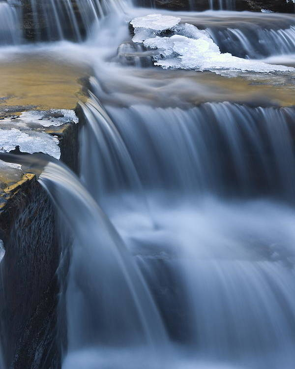 Waterfalls Poster featuring the photograph Waterfalls In Blue And Gold by Jim Dohms