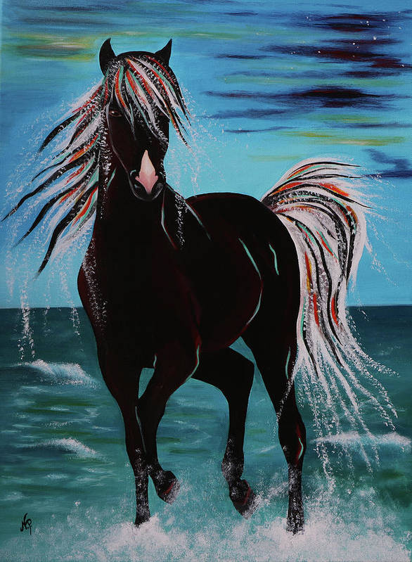 Horse Poster featuring the painting Waterhorse by Nicole Paquette