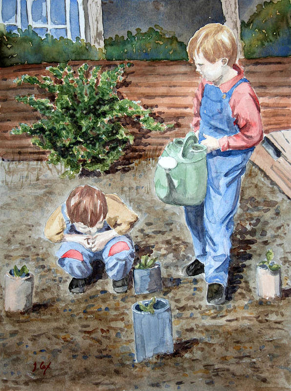 Gardening. Children. Boys. Allotment. Play. Poster featuring the painting Watering The Plants by John Cox
