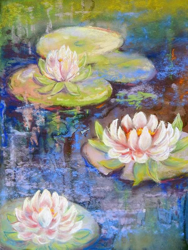 Plants Poster featuring the painting Waterlillies by Caroline Patrick