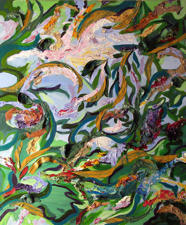 Abstract Poster featuring the painting Watery Trees by Art Nomad Sandra Hansen