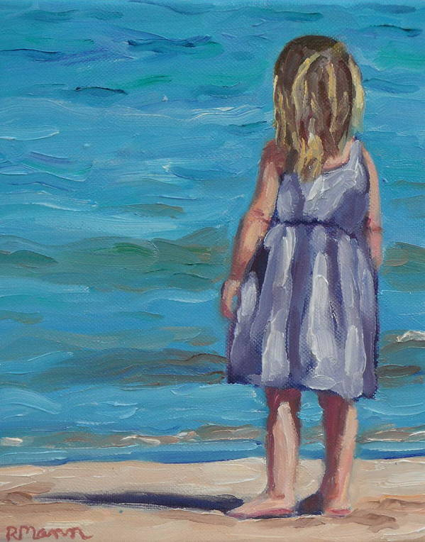 Little Girl. Girl At Beach Poster featuring the painting Wave Watching by Robin Mann