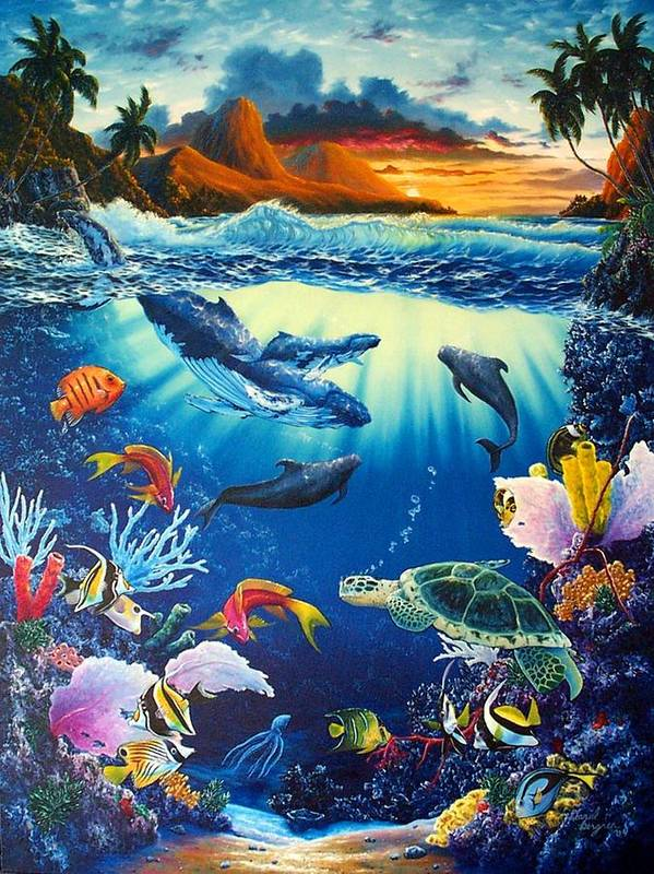 Whale Poster featuring the painting Waves Of Light by Daniel Bergren