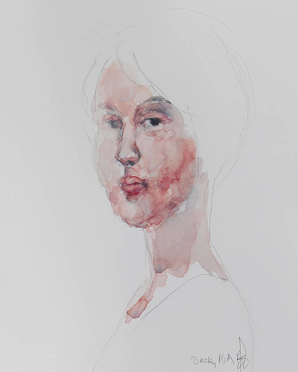 Watercolor Poster featuring the painting Wc Mini Portrait 1       by Becky Kim