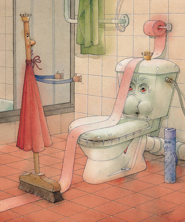 Wc Poster featuring the painting WC Story by Kestutis Kasparavicius