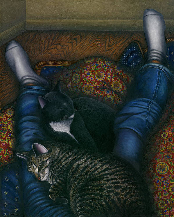 Cats Napping With Girl Poster featuring the painting We 3 Nap With My Cats by Carol Wilson