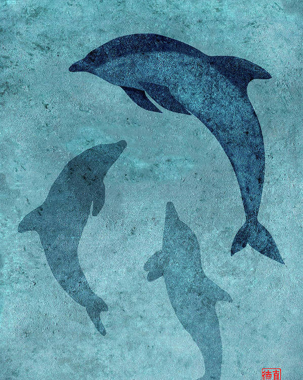 Dolphin Poster featuring the painting We Dream Again Of Blue Green Seas by Peter Cutler