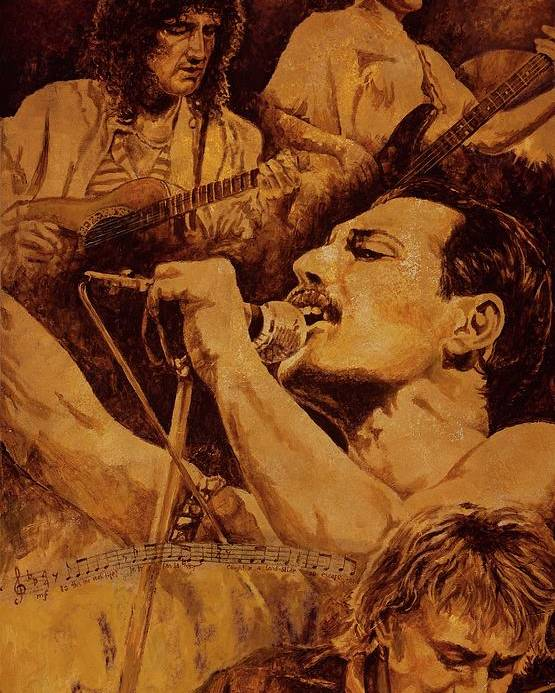 Queen Poster featuring the painting We Will Rock You by Igor Postash