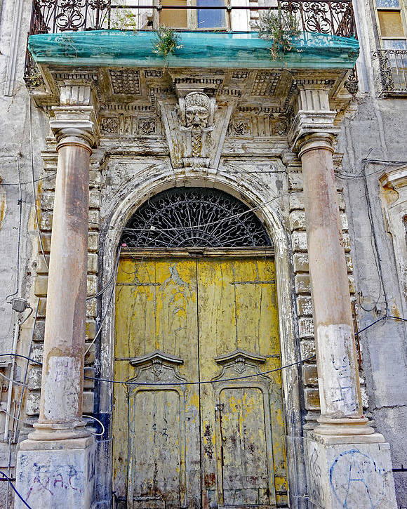 Palermo Poster featuring the photograph Weathered Old Artistic Door On A Building In Palermo Sicily by Richard Rosenshein