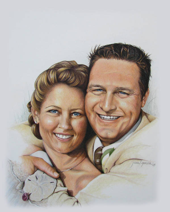 Wedding Portraits Poster featuring the drawing Wedding Portrait Jeremy N Katie by Joan Garcia