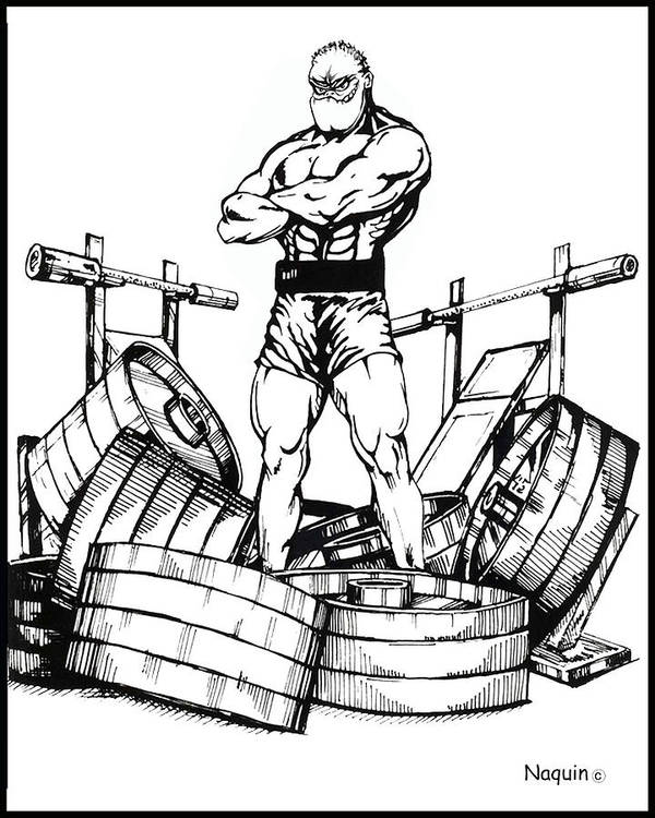 Cartoon Artist Poster featuring the drawing Weight Lifter by Keith Naquin