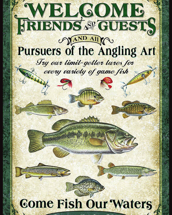 Fish Poster featuring the painting Welcome Friends Sign by JQ Licensing