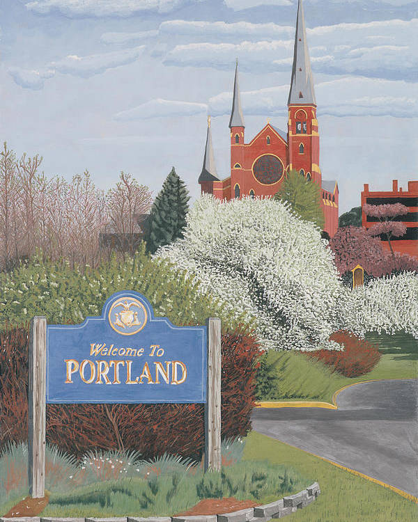 Church Poster featuring the painting Welcome To Portland by Dominic White