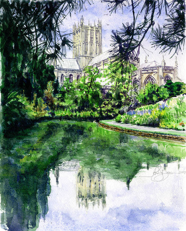 Wells Poster featuring the painting Wells Cathedral by John D Benson