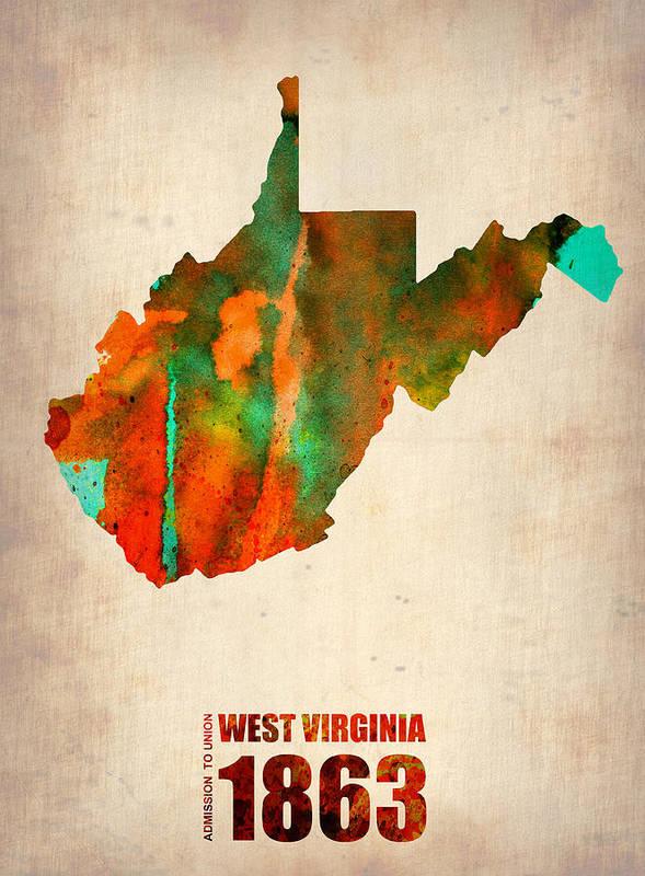 West Virginia Poster featuring the digital art West Virginia Watercolor Map by Naxart Studio