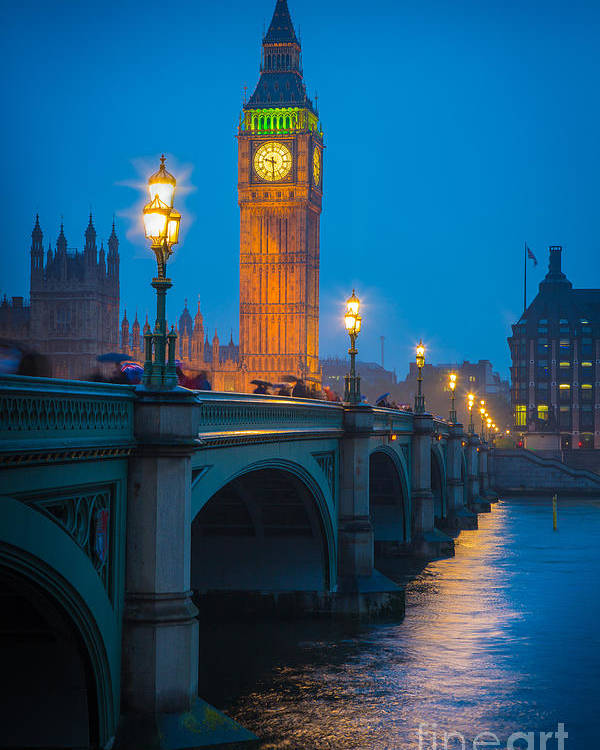 Big Ben Poster featuring the photograph Westminster Bridge At Night by Inge Johnsson